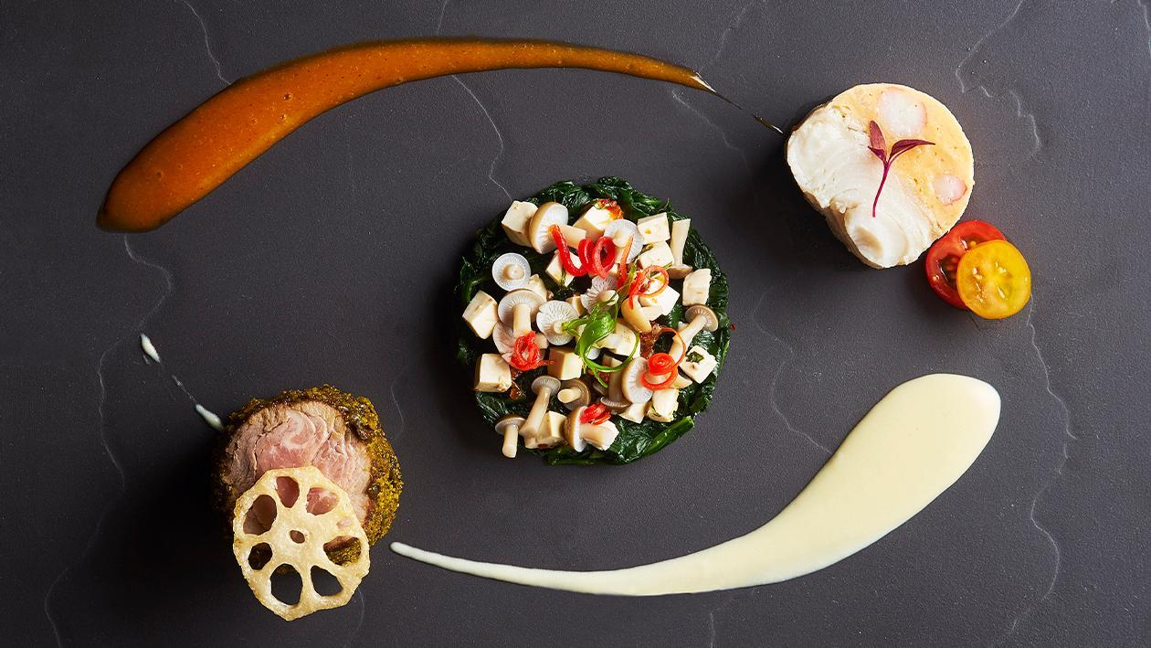Slow-Cooked Halibut and Lobster Mousse and Thai-Style Roasted Australian Fillet Mignon with Tom Yum Emulsion