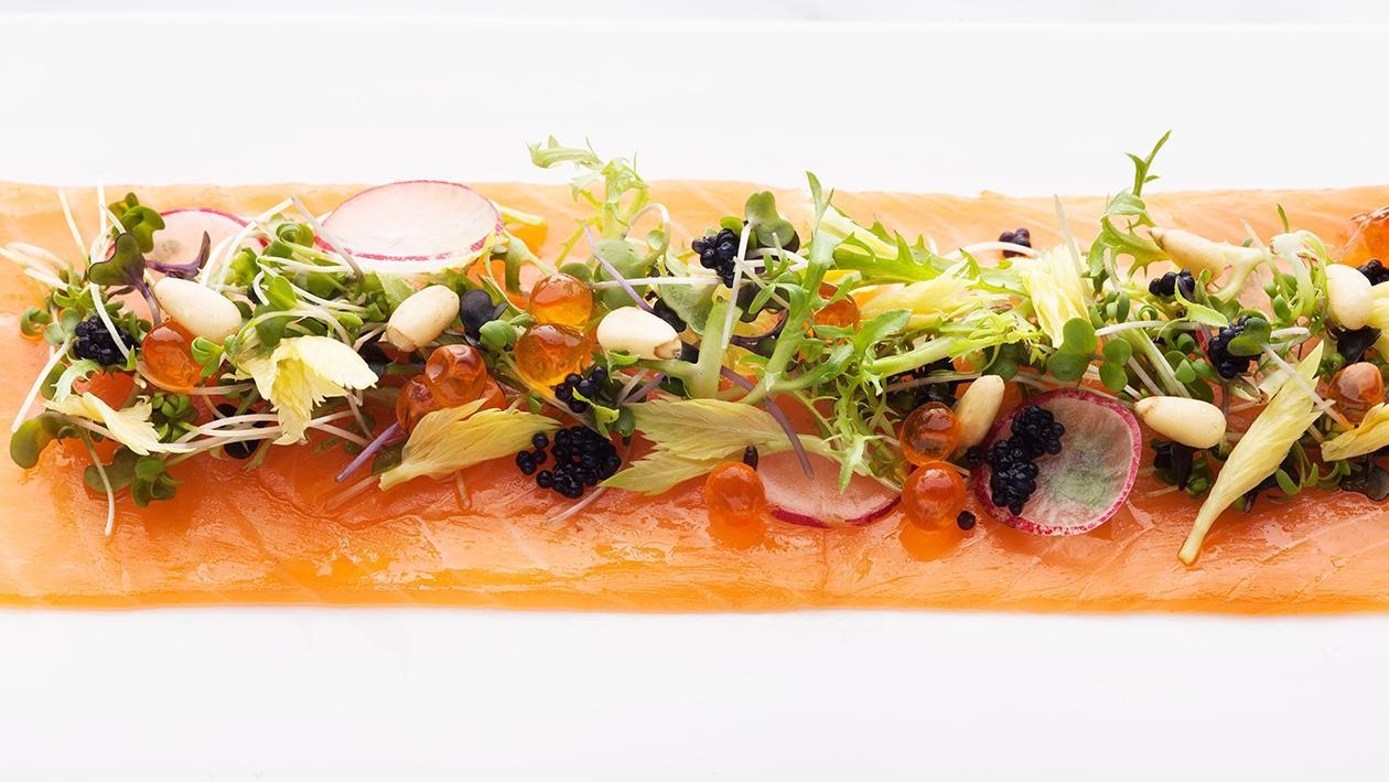 Smoked Salmon Carpaccio with Yuzu Mustard Glaze
