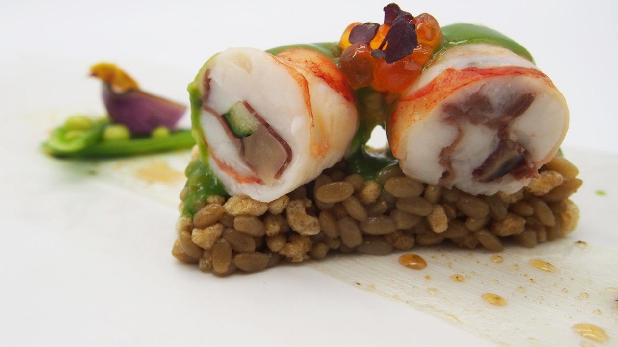 Sous Vide Lobster with Onion and Rock Rice