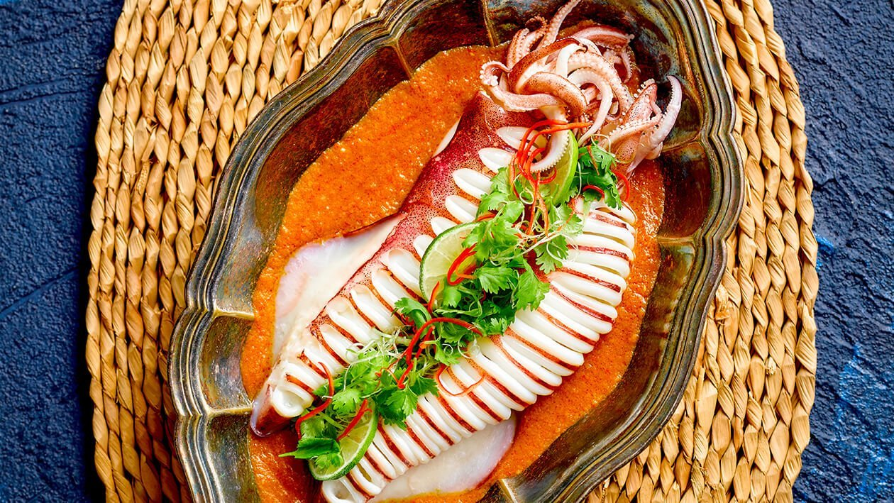 Steamed Squid with Nonya Sauce