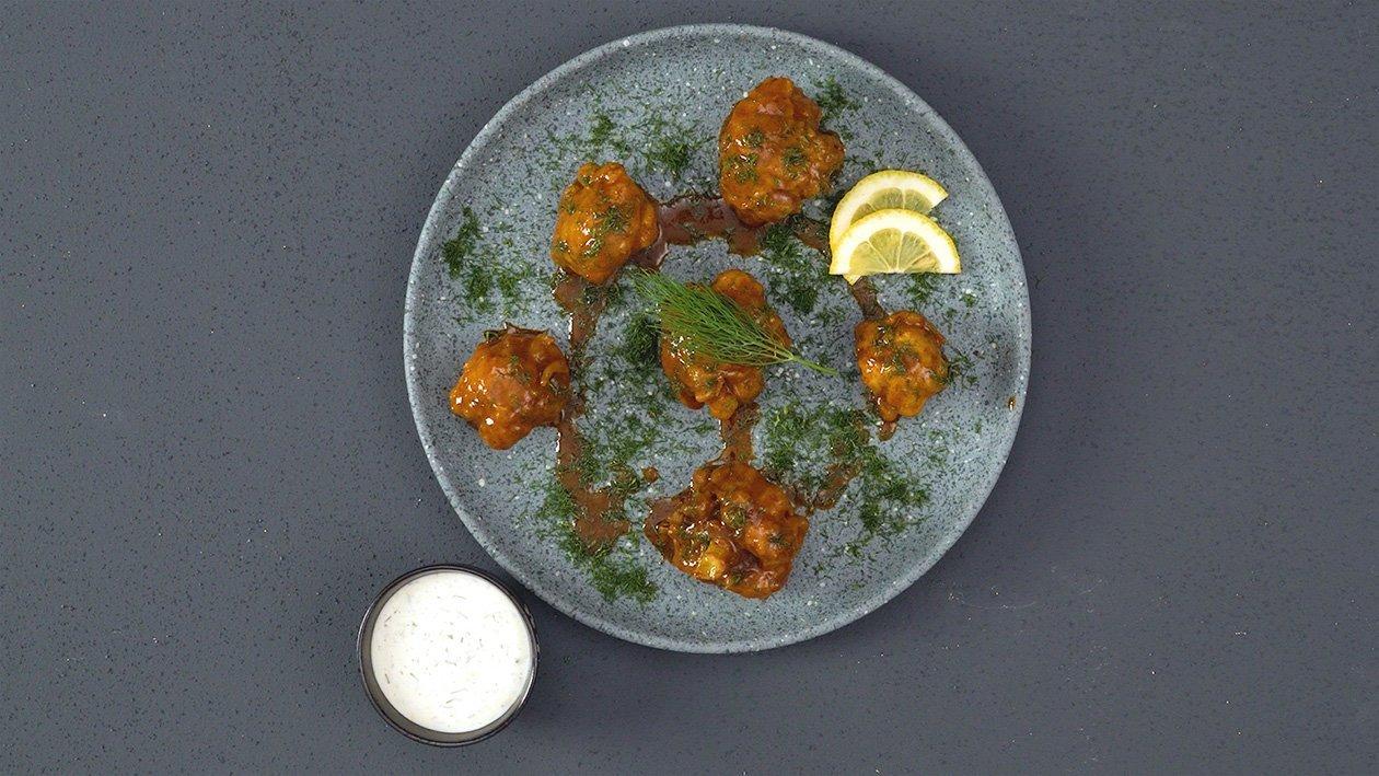 Tom Yam Cauliflower Poppers with Aioli Dip