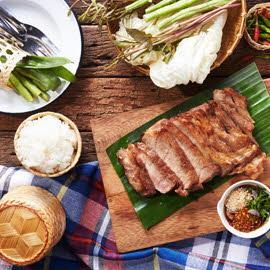 Grilled Pork Collar with Northeastern Thai Style Spicy Dipping Sauce