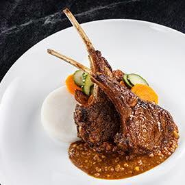 Spiced lamb rack with peanut sauce