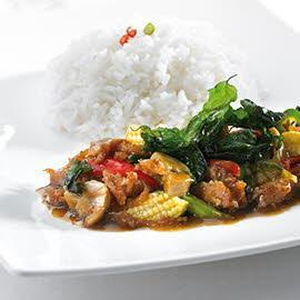 Stir Fried Sour Pork and Basil with Super Rice