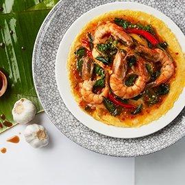 Thai Basil Shrimp with Deep-Fried Basil and Creamy Omelette