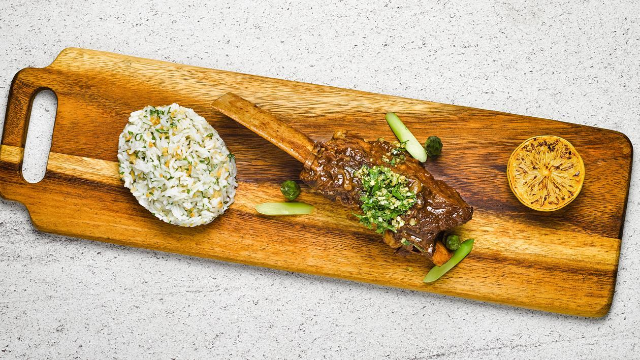 Braised Beef Short-Ribs with Gremolata & Garlic Rice