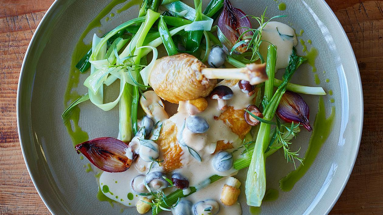 Chicken with Mushrooms, Leek, and Cream