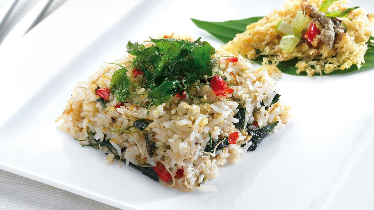 Fried Rice with Fried Catfish and Mixed Herb