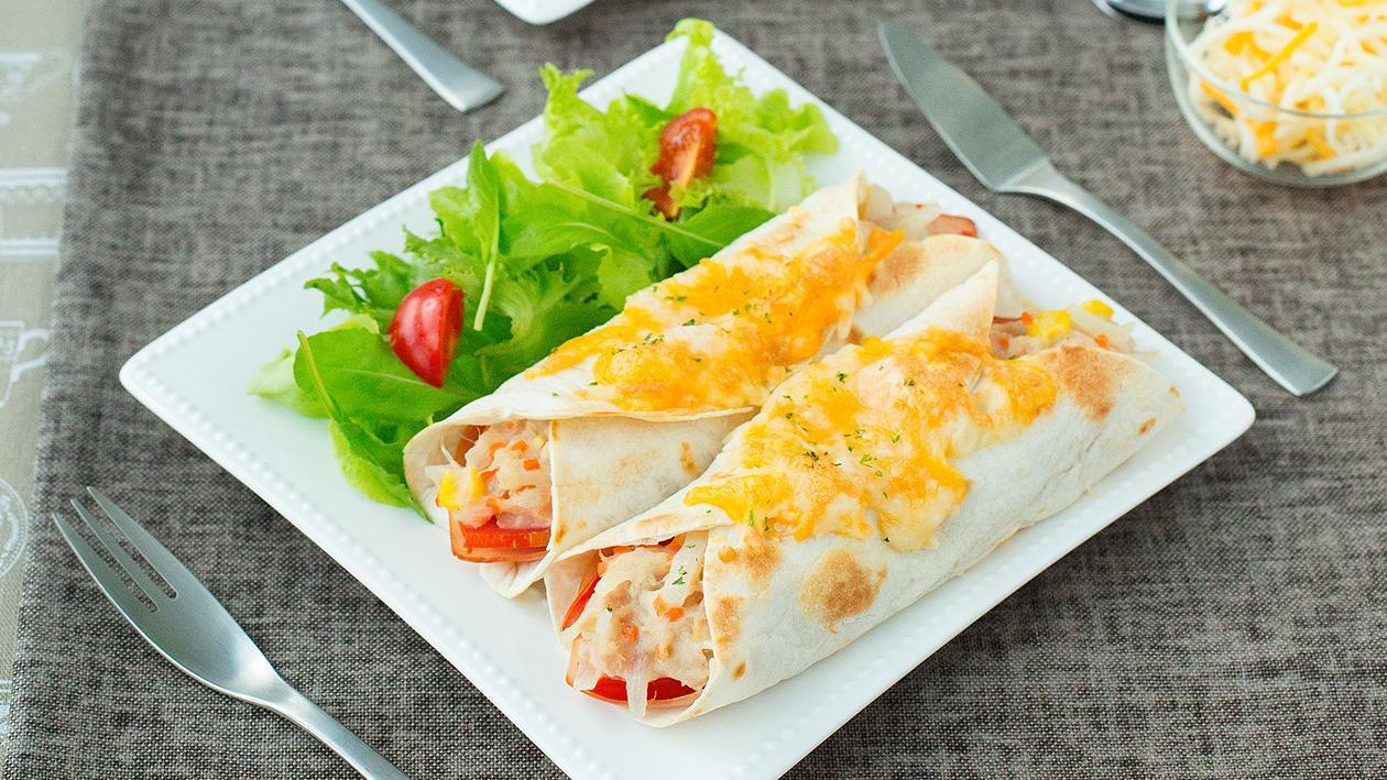 Ham and tuna salad wrap