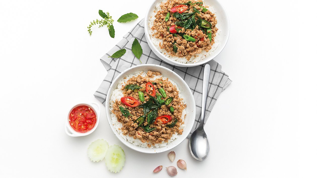 Spicy Stir-Fried Minced Pork with Holy Basil