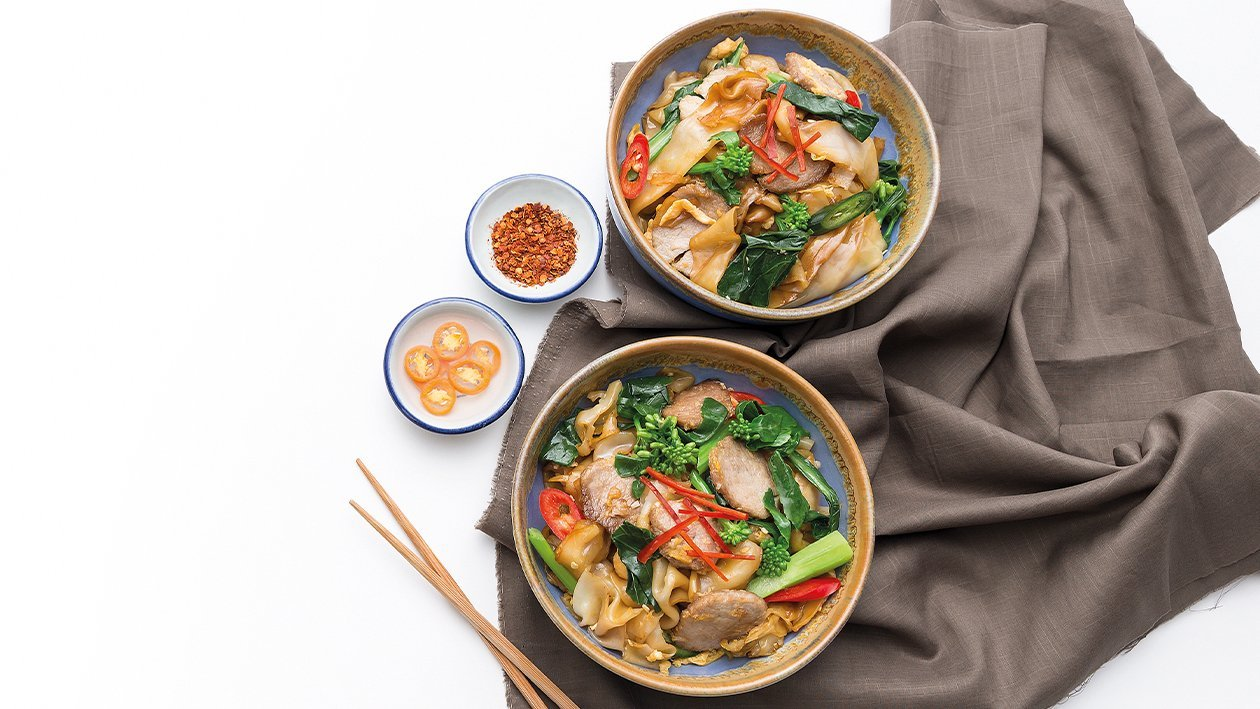Stir-Fried Wide Rice Noodles with Pork
