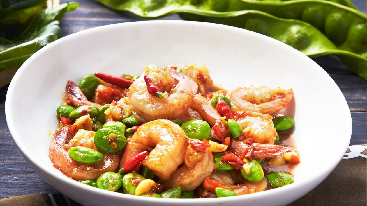 Tasty Spicy Stir Fried Sato with Shrimps