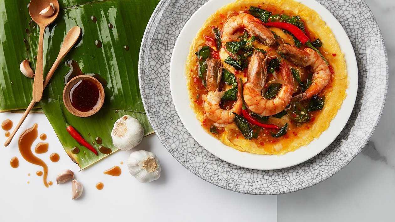 Thai basil shrimp with deep-fried basil and creamy omelet