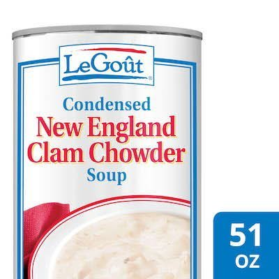 Legout® New England Clam Chowder Condensed Canned Soup 50 ounces, pack of 12 -