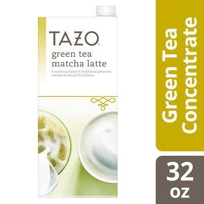 Tazo Tea Concentrate Green Tea Matcha Latte 1:1 32 ounces, Pack of 6 -