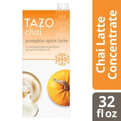 Tazo Tea Concentrate Pumpkin Spice Latte 1:1 32 ounces, Pack of 6 -