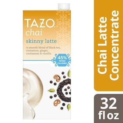 Tazo Tea Concentrate Skinny Chai Latte 1:1 32 ounces, Pack of 6 -