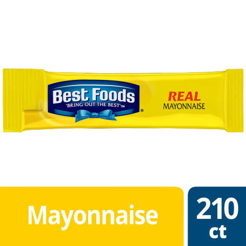 Best Foods® Mayonnaise Stick Packets Real 0.38 ounces, 210 count - Best Foods® Real Mayonnaise is made with real eggs, oil, and vinegar for a rich, creamy flavor that your guests can savor.