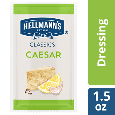 Hellmann's® Classics Salad Dressing Portion Control Sachet Caesar 1.5 ounces, pack of 102 - To your best salads with dressing that looks, performs and tastes like you made it yourself.