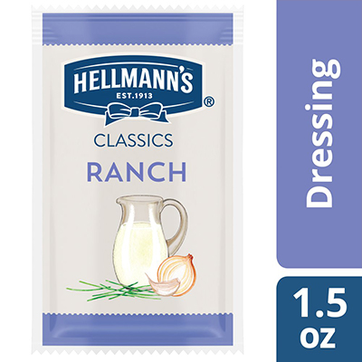 Hellmann's® Classics Salad Dressing Portion Control Sachet Ranch 1.5 ounces, pack of 102 - To your best salads with dressing that looks, performs and tastes like you made it yourself.