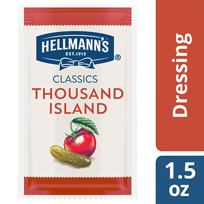 Hellmann's® Classics Thousand Island Dressing Sachet 102 x 1.5 oz - To your best salads with Hellmann's® Classics Thousand Island Dressing (102 x 1.5 oz) that looks, performs and tastes like you made it yourself.