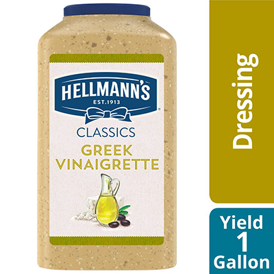 Hellmann's® Greek Vinaigrette 4 x 1 gal - To your best salads with Hellmann's® Greek Vinaigrette (4 x 1 gal) dressing that looks, performs and tastes like you made it yourself.