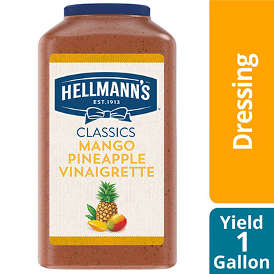 Hellmann's Salad Dressing Jug Mango Pineapple Vinaigrette 1 gallon, pack of 4