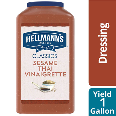Hellmann's® Sesame Thai Vinaigrette 4 x 1 gal - To your best salads with dressing that looks, performs and tastes like you made it yourself.