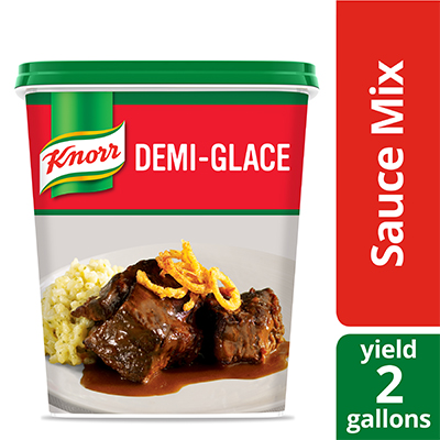 Knorr® Professional Demi Glace Sauce Mix 4 x 26 oz - A demi-glace that has a perfect balance of flavors is critical for beef entrées.