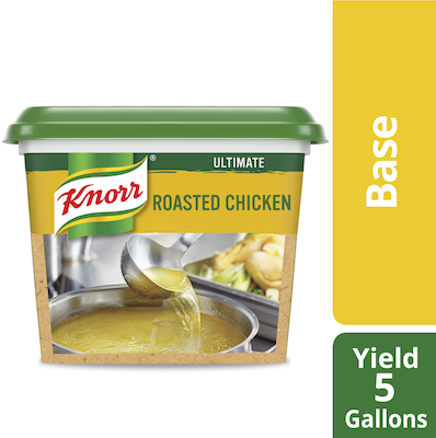 Knorr® Professional Ultimate Chicken Bouillon Base 6 x 1 lb - Excess salt in bases masks the true flavor of soups