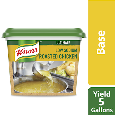 Knorr® Professional Ultimate Low Sodium Chicken Bouillon Base 6 x 1 lb - Excess salt in bases masks the true flavor of soups.