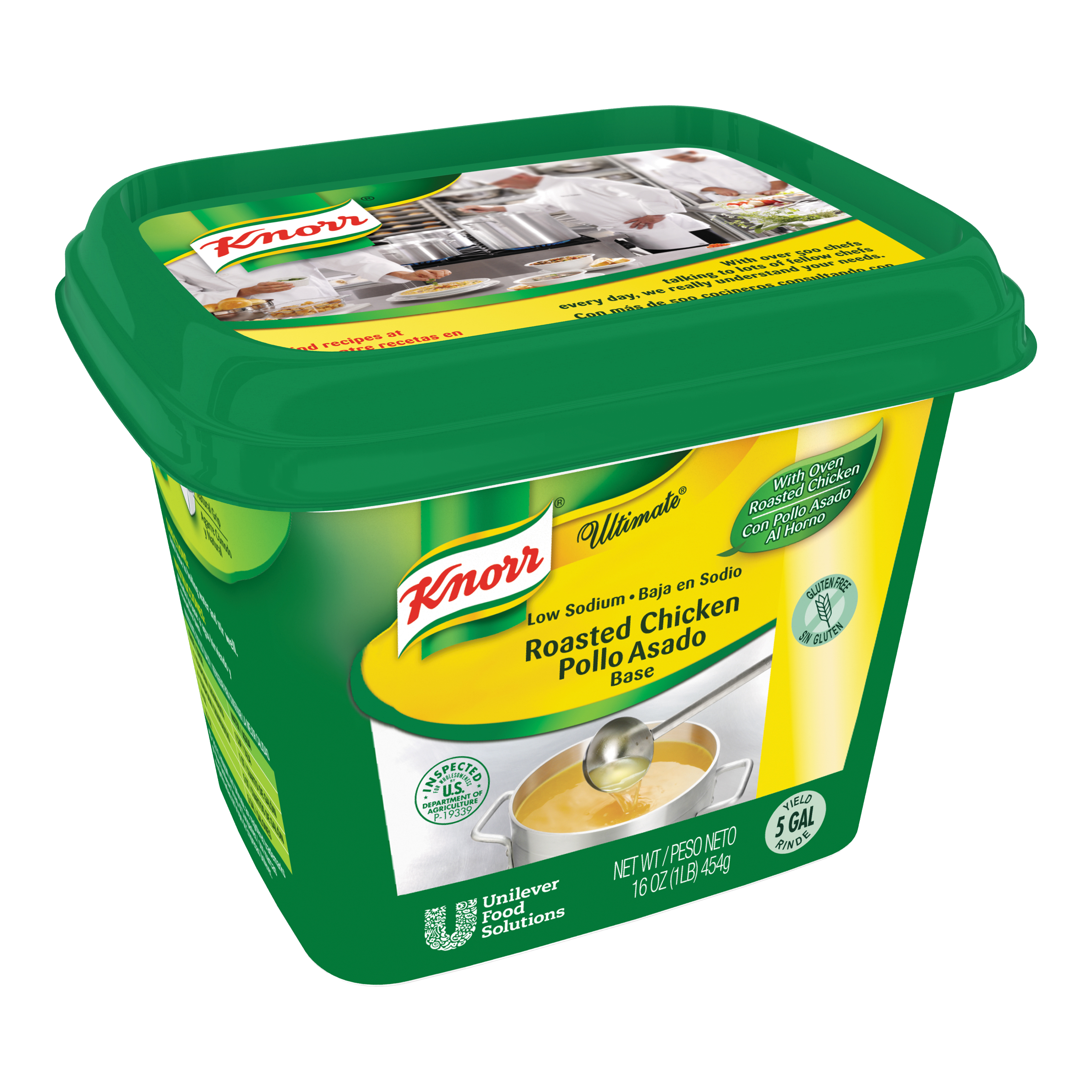 Knorr® Ultimate Chicken Low Sodium, Gluten Free - 10048001507422 - Excess salt in bases masks the true flavor of soups.