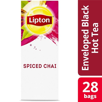 Lipton® Hot Tea Bags Enveloped Spiced Chai Tea Pack of 6, 28 count -