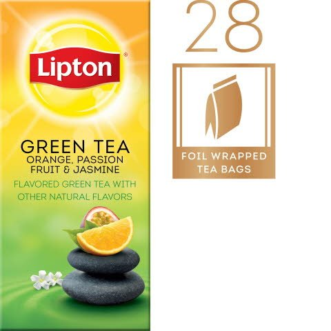 Lipton® Hot Tea Bags Green with Orange, Passion Fruit & Jasmine pack of 6, 28 count - Lipton varieties suit every mood.