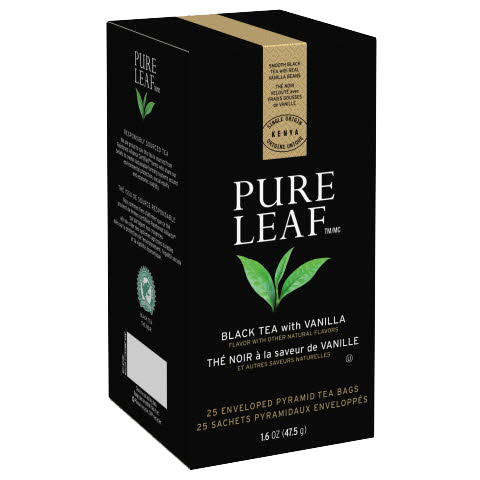 Pure Leaf Hot Tea Bags Black Tea with Vanilla 25 count, Pack of 6