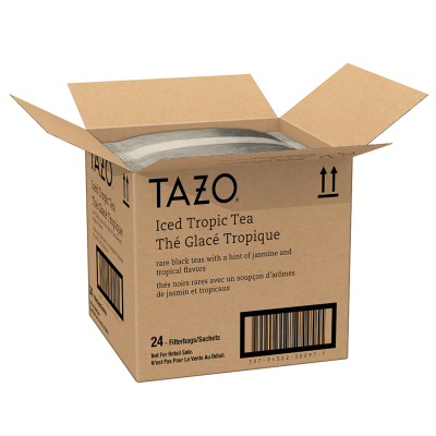 Tazo Fresh Brewed Iced Tea Tropical 1 gallon, Pack of 24