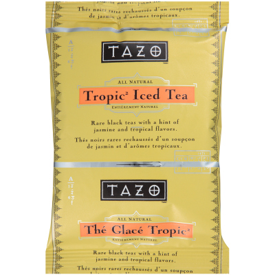 Tazo Fresh Brewed Iced Tea Tropical 3 gallon, Pack of 48