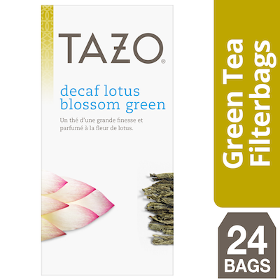 Tazo Hot Tea Filterbag Decaf Lotus Blossom Green 24 count, Pack of 6
