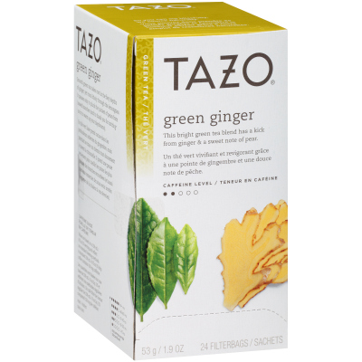 Tazo Hot Tea Filterbag Green Ginger 24 count, Pack of 6