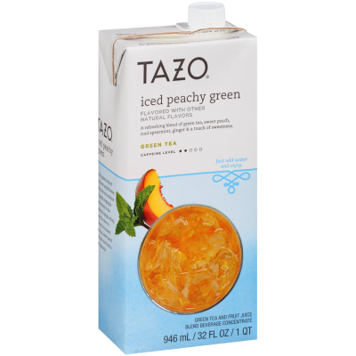 Tazo Iced Tea Concentrate Peachy Green 1:1 32 ounces, Pack of 6
