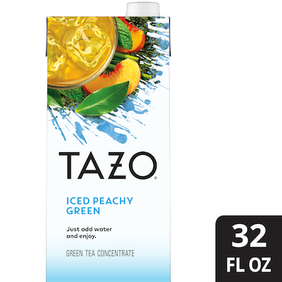 TAZO® Iced Tea Concentrate Peachy Green 1:1 32 ounces, pack of 6 -