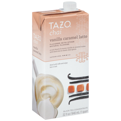 Tazo Tea Concentrate Vanilla Caramel Chai Latte 1:1 32 ounces, Pack of 6