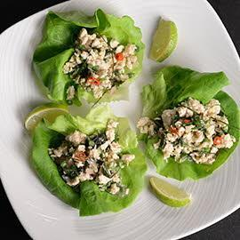 Chicken Larb in Lettuce Cups