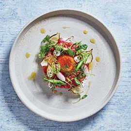 Steak tartare with quick-cured egg