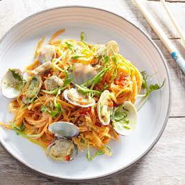 Sweet Potato Noodles with Clams and Creamy Turmeric Sauce