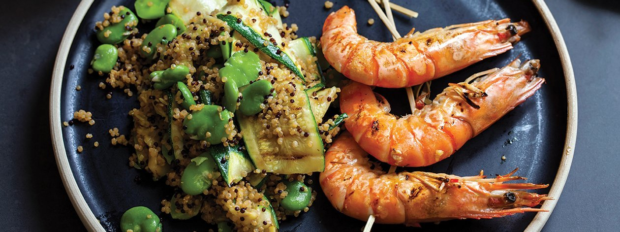 Amaranth and Grilled Shrimp – recipe