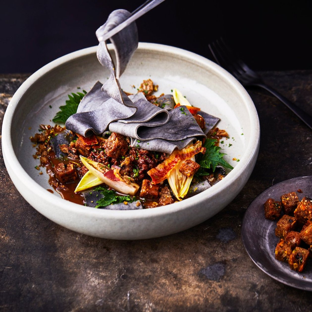 Beef Ragu with Marbled Pappardelle, Chicory and Gremolata – recipe