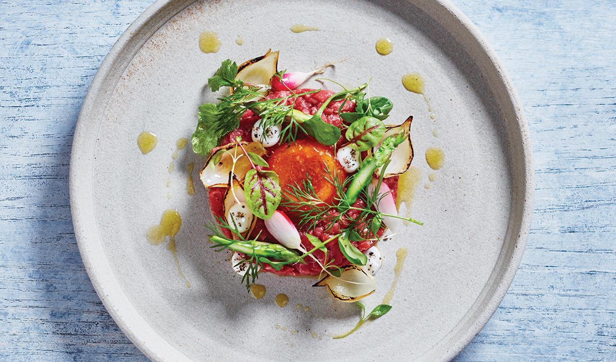 Beet Tartare with Quick-Cured Egg – recipe