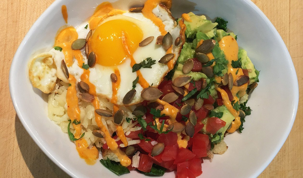 Cauliflower Breakfast Bowl with Chipotle Carrot Hollandaise – recipe