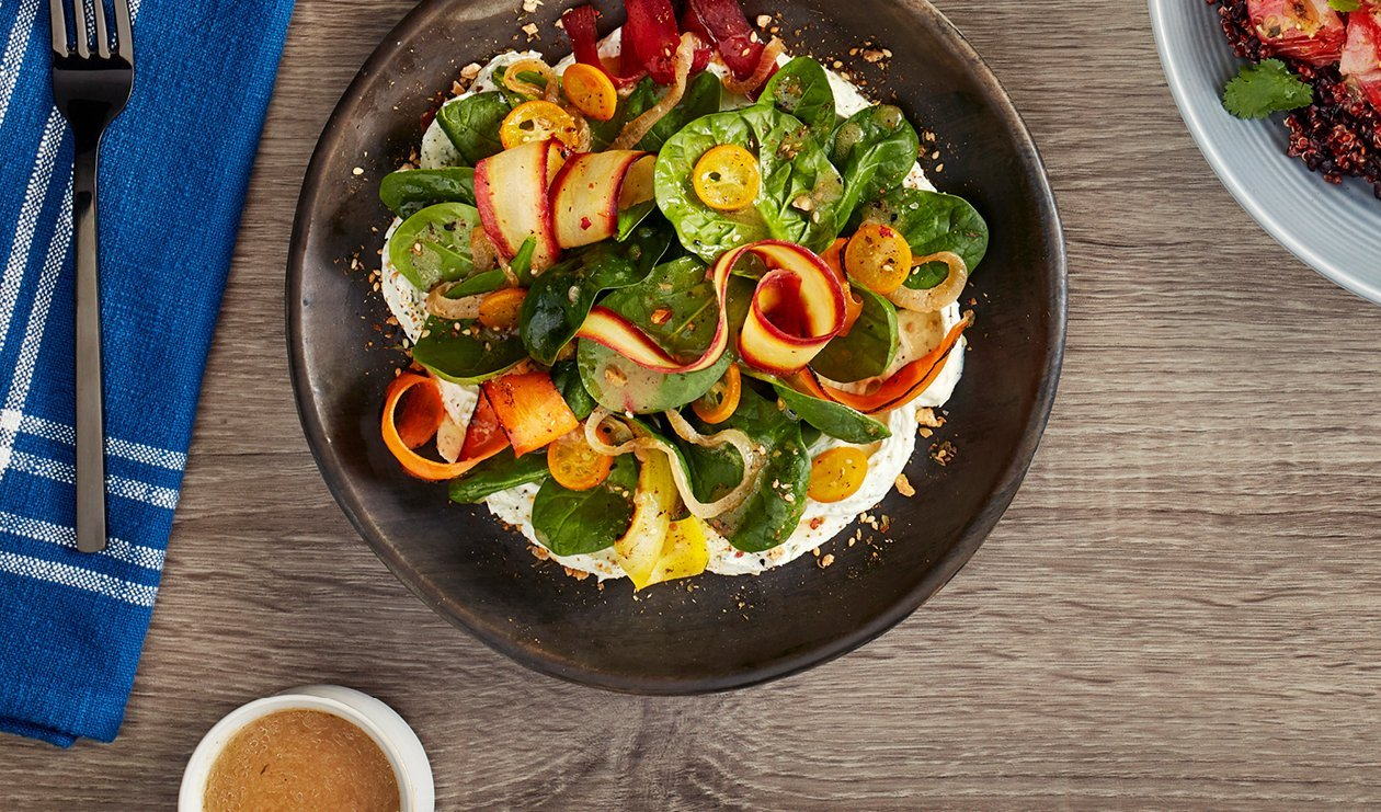 Charred Carrot, Pickled Kumquat and Dukkah Salad with Carrot Top Goat Cheese Cream – recipe